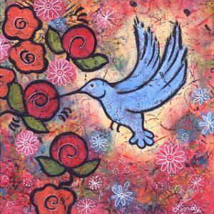 whimsical hummingbird painting