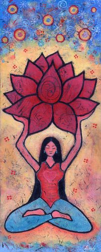 Yoga girl and lotus painting