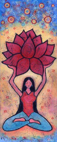 Yoga girl and lotus painting