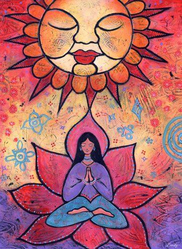 yoga girl and sun painting