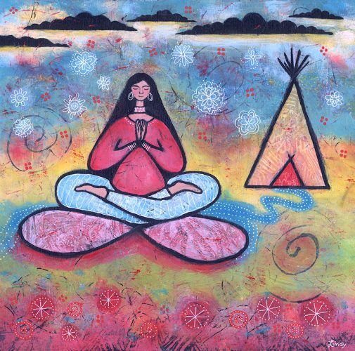 yoga girl and tipi painting