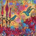 Original Acrylic Enchanted Hummingbirds Painting