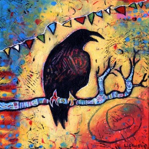 """The Raven's Gift, Acrylic on Canvas, 8"""" x 8"""", $225"""