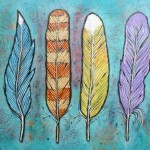 New Original Acrylic Feather Paintings