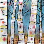"Be Still, Listen to the Woodlands Sing, acylic on paper, framed 33""x33"", sold"