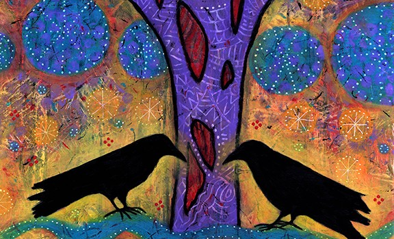 "Two Ravens Sit and Reflect on Life, 12"" x 12"", acrylic on wood, located at Van Gogh's Ear Gallery."
