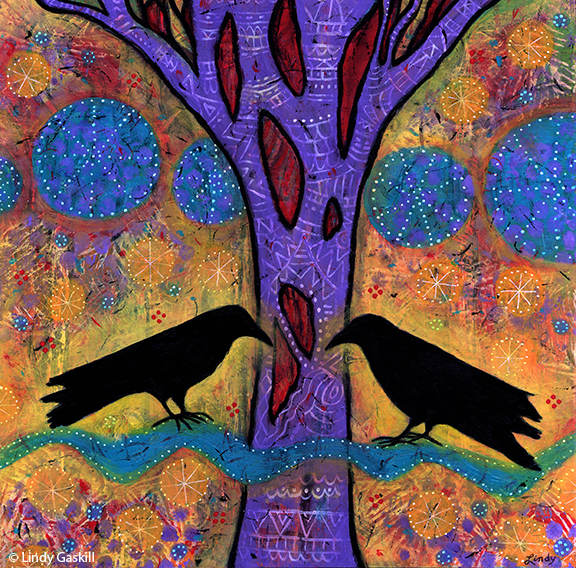 "Two Ravens Sit and Reflect on Life, 12"" x 12"", acrylic on wood, sold"