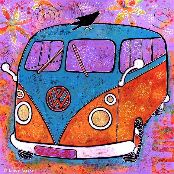 vw van painting with raven