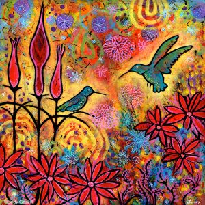 Enchanted Hummingbirds painting by Lindy Gaskill