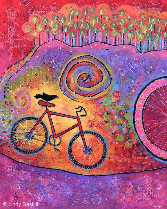 Just Ride and Fly Bicycle and Raven painting