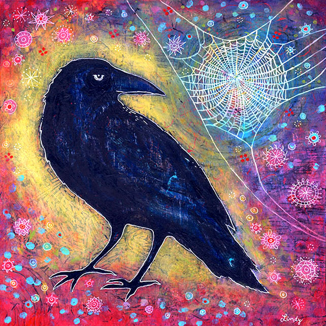 "Mr. Raven, Meet Miss Web, 12"" x 12"", acrylic on wood"