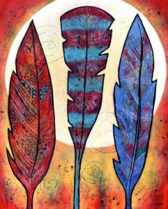 Three Feathers Shine with the Moon