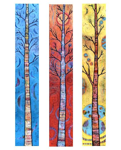 Whimsical Tree Triptych, sold