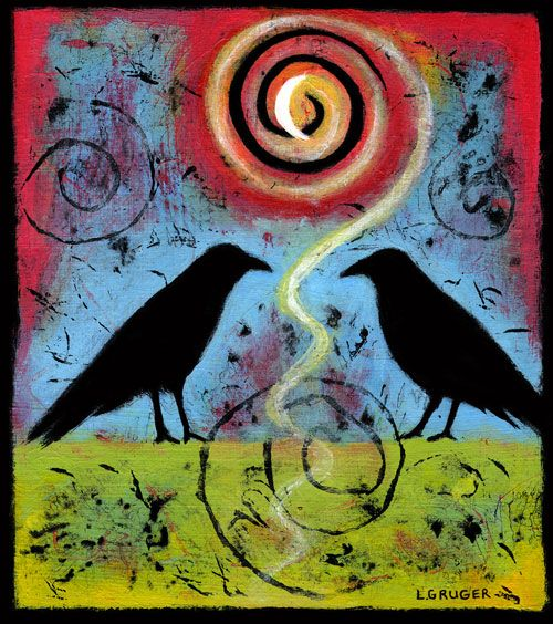 Two Ravens Sit and Reflect III, sold