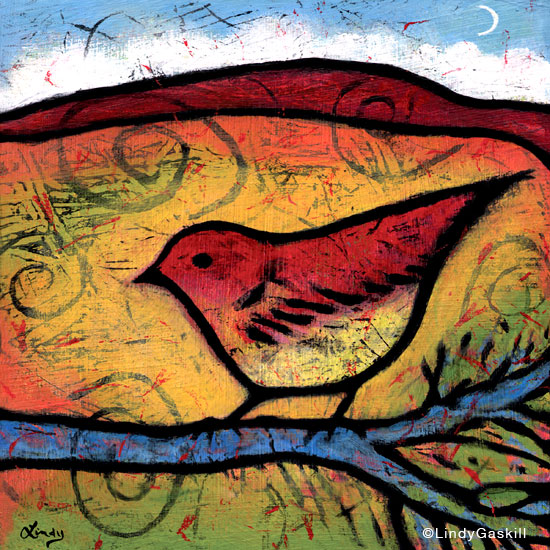 She Heard the Desert Calling - Bird painting by Lindy Gaskill