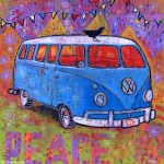 "VW Bus Painting titled ""Peace, Baby"""