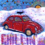 A Red Snowy VW Bug Painting