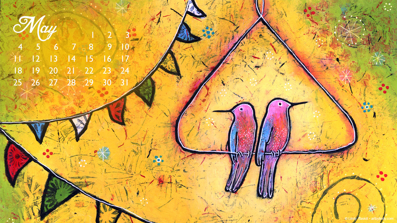 May Desktop Wallpaper Calendar - Art by Lindy