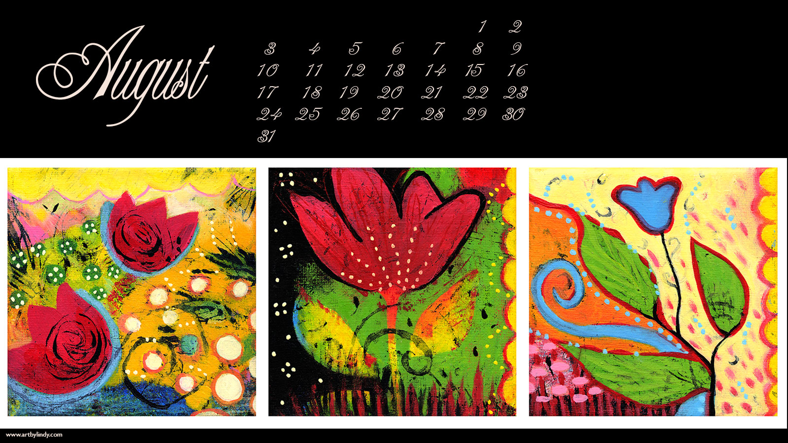 August Desktop Wallpaper Calendar