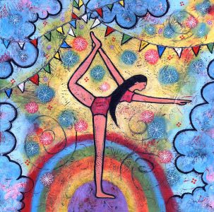 Stay Balanced Yoga Girl painting