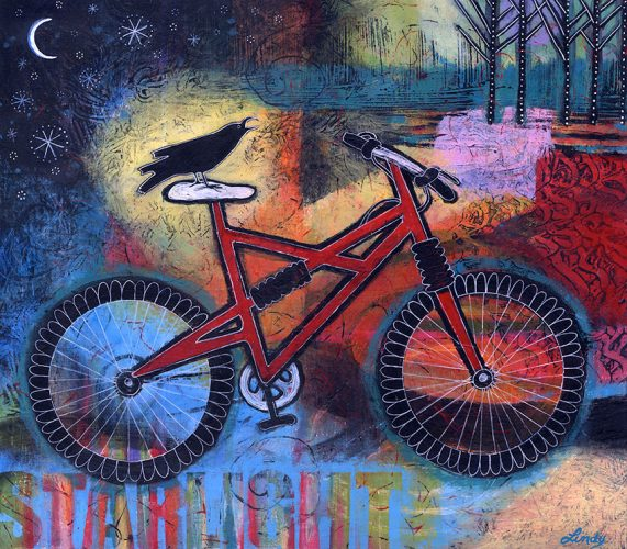"""Star Light, Star Bright, Let's Go On a Ride Tonight,"" 14″ x 16″, Acrylic on Wood Panel"