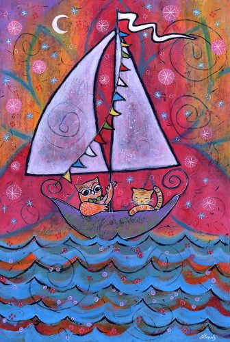 """They Sailed Under the Light of the Moon,"" 10.75″ x 16″, Acrylic on Wood Panel"