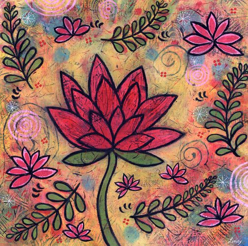 """Lotus Garden,"" 12″ x 12″, Acrylic on Wood Panel"