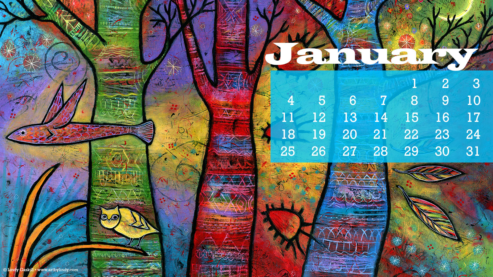 January desktop calendar download