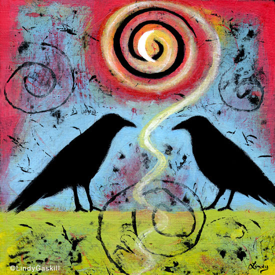 Two Ravens Sit and Reflect painting series
