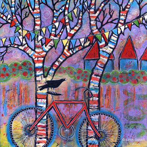 Bicycle and Raven painting