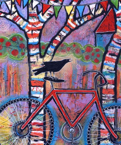 close up of bike and raven painting