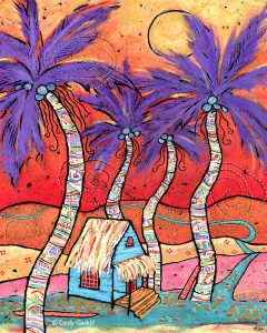 Little Blue Beach Shack by Lindy Gaskill