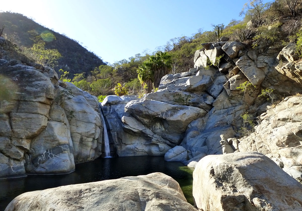 Visit to the waterfall at Santiago, Baja, Mexico