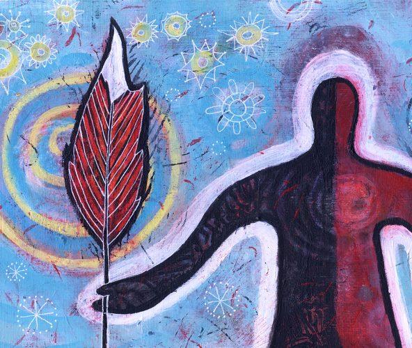 whimsical painting Warrior Spirit