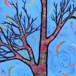 New Whimsical Tree Painting with Floating Moon Shadows