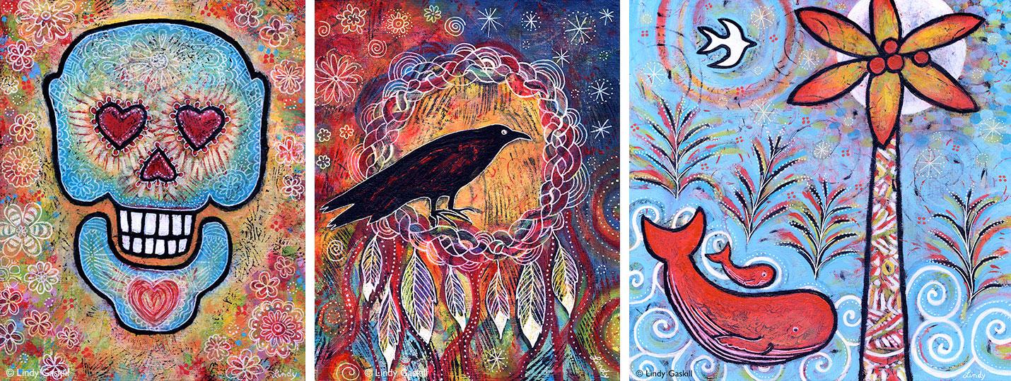 Whale, Raven, Sugar Skull Paintings