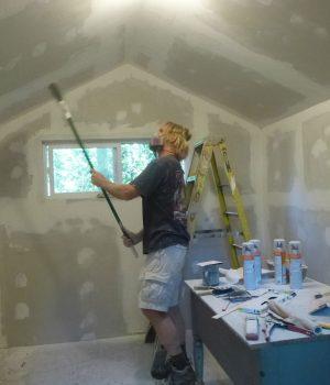 sweeping walls of art studio