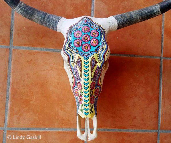 Painted Steer Skull by Lindy Gaskill