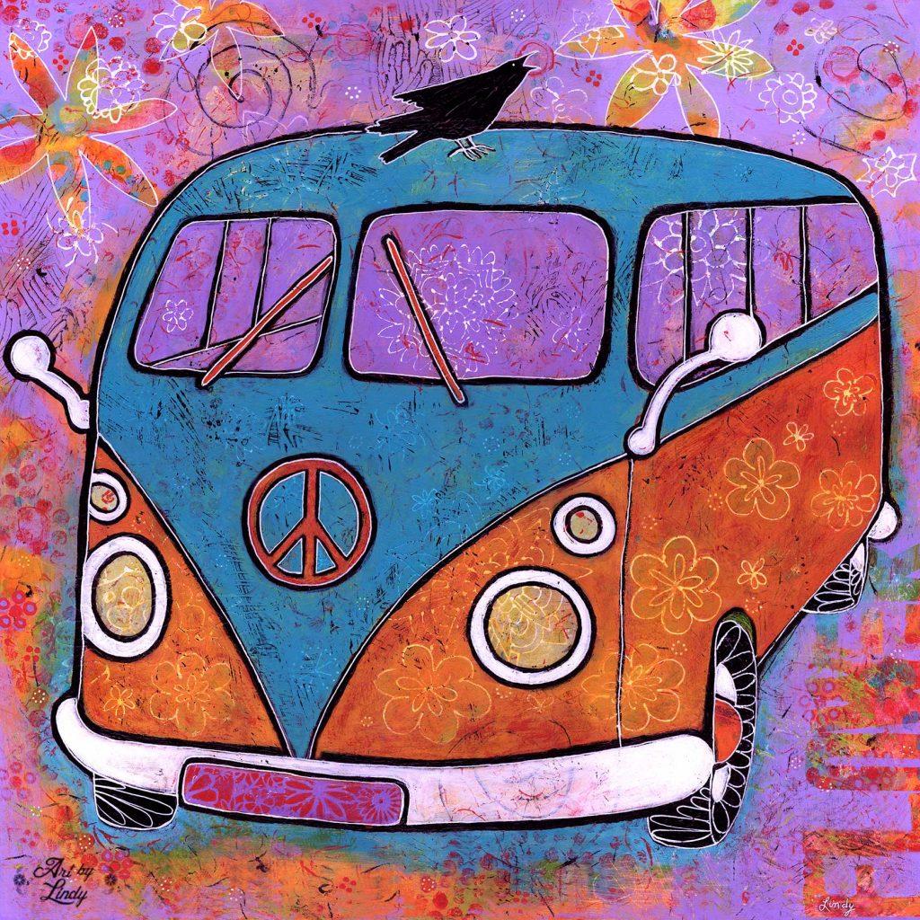 peace sign on van art